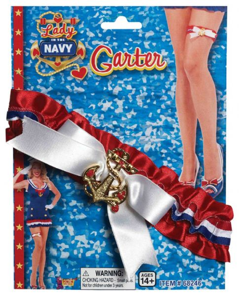Lady in Navy Garter Naval Military War Sailor Fancy Dress
